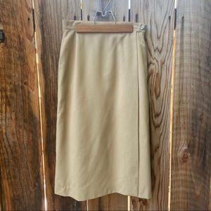 VTG 80s Khaki True Wrap Midi Skirt